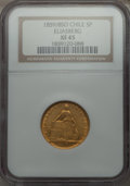 Chile, Chile: Republic gold 5 Pesos 1859/8 XF45 NGC,...