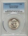 Washington Quarters, 1952-S/S 25C Repunched Mintmark, FS-502 MS66 PCGS. ...
