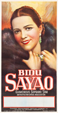 "Movie Posters:Miscellaneous, Bidu Sayao (Metropolitan Opera Association, Late-1930s). Three Sheet (41"" X 81""). Musical.. ..."