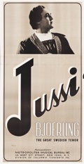 """Movie Posters:Miscellaneous, Jussi Bjoerling (Columbia Records, 1940s). Three Sheet (40.5"""" X 80"""").. ..."""