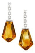 Estate Jewelry:Earrings, Citrine, Diamond, White Gold Earrings. ...