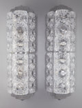 Art Glass:Lalique, Pair of Lalique Frosted Glass and Chrome Seville Sconces .Post 1945. Engraved Lalique, France. Ht. 24 in.. ... (Total:2 Items)