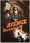 "Movie Posters:War, World War II Propaganda (U.S. Government Printing Office, 1942).Propaganda OWI Poster # 15 (28"" X 40"") ""Avenge December 7t..."