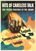 "Movie Posters:War, World War II Propaganda (U.S. Government Printing Office,1943). OWIPoster (20"" X 28"") ""Bits of Careless Talk."". ..."