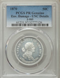 Patterns, 1870 50C Standard Silver Half Dollar, Judd-985, Pollock-1106, R.8 -- Environmental Damage -- PCGS Genuine. Proof, Unc Details...