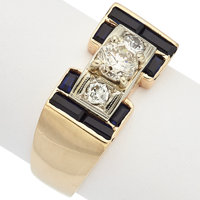 Diamond, Synthetic Sapphire, Gold Gentleman's Ring