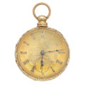 Timepieces:Pocket (pre 1900) , Swiss 18k Gold Lever Fusee Pocket Watch. ...