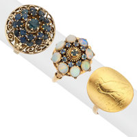 Sapphire, Opal, Gold Rings