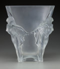 Art Glass:Lalique, Limited Edition Lalique Frosted Glass Vase with Nude Figures. Post1945. Engraved Lalique France, 09/99.. Ht. 13 in.. ...