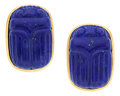 Estate Jewelry:Earrings, Lapis Lazuli, Gold Earrings, Diane Griswold Johnston. ...