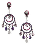 Estate Jewelry:Earrings, Sapphire, Ruby, Diamond, White Gold Earrings. ...