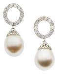 Estate Jewelry:Earrings, Freshwater Cultured Pearl, Diamond, White Gold Earrings, PatriciaMakena. ...