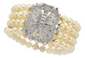 Estate Jewelry:Bracelets, Art Deco Cultured Pearl, Diamond, Platinum Bracelet. ...