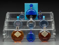 Art Glass:Lalique, Ten Assorted R. Lalique Clear and Blue Glass Perfume Bottles forWorth. Circa 1925-1929. Molded R. LALIQUE. M p. 953, ...(Total: 10 Items)