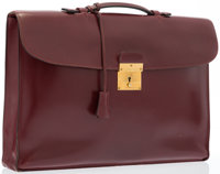 "Hermes Rouge H Calf Box Leather Briefcase Bag with Gold Hardware Good Condition 14.5"" Width x 10"