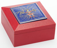 "Hermes Rouge Vif Chevre Leather & Blue Enamel Box Good Condition 3"" Width x 3"" Height x 1.5"" Dept..."