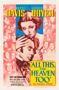 """Movie Posters:Drama, All This, and Heaven Too (Warner Brothers, 1940). One Sheet (27"""" X41"""").. ..."""