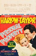 "Movie Posters:Romance, Personal Property (MGM, 1937). Window Card (14"" X 22"").. ..."
