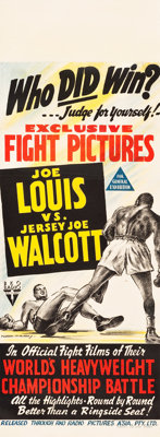 "Joe Louis vs. Jersey Joe Walcott (RKO, 1947). Australian Daybill (12.75"" X 34.5"")"