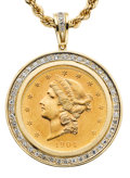 Estate Jewelry:Necklaces, Diamond, U.S. $20 Gold Coin, Gold Pendant-Necklace. ...