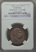 Coins of Hawaii: , 1883 50C Hawaii Half Dollar -- Improperly Cleaned -- NGC Details.VF. NGC Census: (5/516). PCGS Population (11/754). Mintag...