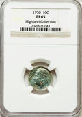 Proof Roosevelt Dimes, 1950 10C PR65 NGC. Ex: Highland Collection. NGC Census: (164/874).PCGS Population (407/967). Mintage: 51,386. Numismedia W...