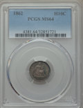 Seated Half Dimes: , 1862 H10C MS64 PCGS. PCGS Population (139/209). NGC Census:(175/164). Mintage: 1,492,550. Numismedia Wsl. Price for proble...