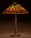 Art Glass:Tiffany , Tiffany Studios Leaded Glass and Bronze Daffodil Table Lamp.On Twisted Vine base.. Circa 1905. Stamped TIFF... (Total: 3Items)