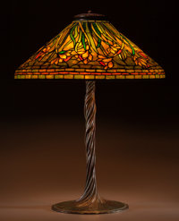 Tiffany Studios Leaded Glass and Bronze Daffodil Table Lamp On Twisted Vine </