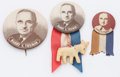 """Political:Pinback Buttons (1896-present), Harry S Truman: Three nice sepia buttons, 1¼-2¼"""", shown to scale and in excellent condition. The smaller litho is deceptivel..."""