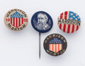 Political:Small Miscellaneous (pre-1896), Benjamin Harrison: Four 1888 campaign lapel studs, all in beautiful condition. Hard to find the cloth-covered varieties this...