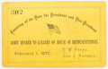 """Political:Small Paper (pre-1896), Rutherford B. Hayes: Scarce ticket for counting of electoral vote in the """"stolen"""" election. Excellent condition with very li..."""