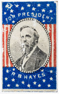 "Political:Ferrotypes / Photo Badges (pre-1896), Rutherford B. Hayes: Rare ""For President"" litho tin campaign badgewith original pin on verso. Unlisted in DeWitt/Sullivan. ..."