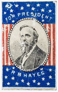 "Rutherford B. Hayes: Rare ""For President"" litho tin campaign badge with original pin on verso. Unlisted in DeW..."