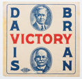 Political:Small Paper (1896-present), Davis & Bryan: Colorful 1924 jugate sticker, a great affordablealternative to a jugate button. Minor stain on left border n...