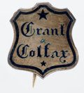 Political:Ribbons & Badges, Grant & Colfax: Diminutive yet very showy silver-colored metal pin. Quite rare. Height 15 mm.. ...