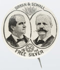 """Political:Pinback Buttons (1896-present), Bryan & Sewall: Jugates for this 1896 ticket are scarcer in sizes larger than 7/8-inch, and this 1¼"""" beauty is as choice as ..."""