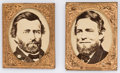 "Political:Ferrotypes / Photo Badges (pre-1896), Grant & Colfax: Matched pair oversized (1"" x 1¼"") portraits ingilt brass shell frames. No pins on reverse, as made. Excelle..."