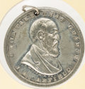 """Political:Tokens & Medals, James A. Garfield: Most unusual UNLISTED uniface medal in white metal, with unique portrait and enigmatic """"I will take that ..."""