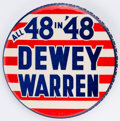 """Political:Pinback Buttons (1896-present), Dewey & Warren: One of the boldest and most striking of slogan button designs. 3½"""" and in great condition. Scarce.. ..."""