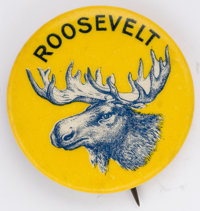 "Theodore Roosevelt: Very scarce, colorful 1¼"" button from his 1912 Bull Moose campaign. Great condition"