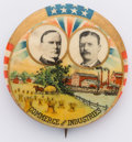 """Political:Pinback Buttons (1896-present), McKinley & Roosevelt: Colorful 1¼"""" jugate, one of the nicest designs of this era. Couple light stain marks by McKinley's por..."""