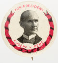 Political:Pinback Buttons (1896-present), Eugene V. Debs: 7/8-inch portrait button with rarely-seen original Keystone Badge back paper. Excellent condition. ...