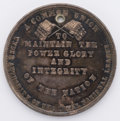Political:Tokens & Medals, Anti-Confederate Silver Medal: C-1861-3 in DeWitt/Sullivan. Virtually uncirculated condition with rich toning. Holed, as iss...