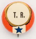 Political:Pinback Buttons (1896-present), Theodore Roosevelt: Very scarce, striking red, white and blue 7/8-inch design in choice condition.. ...