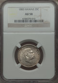 Coins of Hawaii: , 1883 25C Hawaii Quarter AU58 NGC. NGC Census: (109/912). PCGSPopulation (139/1201). Mintage: 500,000. ...
