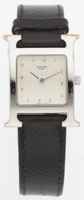 "Hermes Stainless Steel H Hour Watch with Black Epsom Leather Strap Good Condition .5"" Width x 8"""