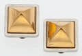 "Luxury Accessories:Accessories, Hermes Gold & Silver Tone Medor Earrings. Very Good Condition. 1"" Width x 1"" Height x .5"" Width. ..."