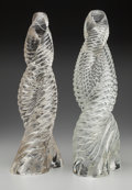 Art Glass:Other , Pair of Paolo Venini and Carlo Scarpa Clear Glass RigadinRetorto. Circa 1936. Etched Venini Italia . Ht. 17in.... (Total: 2 Items)