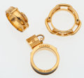 Luxury Accessories:Accessories, Hermes Set of Three; Gold & Black Lizard Debridee Ring, Gold Chain d'Ancre Ring, and Gold Belt Ring. Good to Very Good Con... (Total: 3 Items)